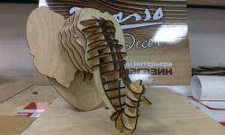 Elephant head 3D Puzzle Free Vector Cdr
