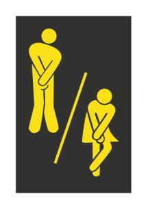 Cute Man Woman Washroom Toilet WC Sticker Free Vector Cdr