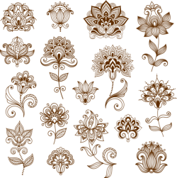 Collection of mehndi style ornamental flowers Free Vector Cdr