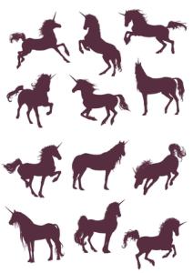 New Unicorn Silhouettes Vector Collection Free Vector Cdr