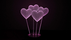 Heart 3D illusion Lamp Free Vector Cdr