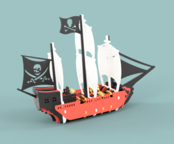 Pirate Ship Vector file for laser cutting CNC Free Vector Cdr