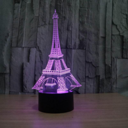 Eiffel Tower Decor 3D LED Night Light Free Vector Cdr