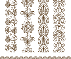 Border elements in Indian mehndi style Free Vector Cdr
