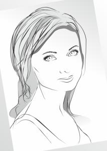 Girl in Sketch Lines Free Vector Cdr