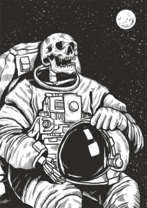 Skeleton Linocut Astronaut Print Free Vector Cdr