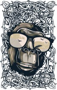 Monkey Print Free Vector Cdr
