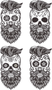 Painted Bearded Mustache Skull Free Vector Cdr