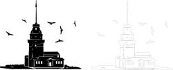Kız Kulesi Silhouette Vector Free Vector Cdr