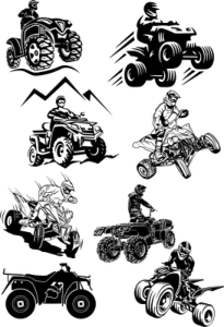 Quad Bike Silhouette vectors Free Vector Cdr