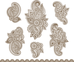Set Mehndi Flower Pattern Henna Drawing Free Vector Cdr
