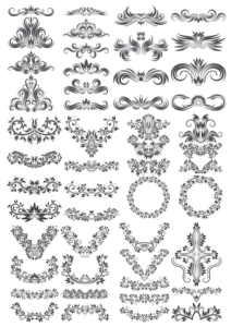 Floral Decor Elements Collection Free Vector Cdr