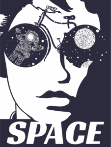 Woman Face Space Print Free Vector Cdr