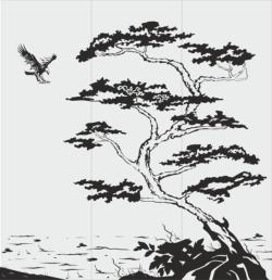 Tree Scene Sandblast Pattern Free Vector Cdr