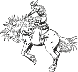 Rodeo rider western cowboy line art Free Vector Cdr