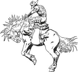 Rodeo rider western cowboy line art Free Vector Cdr