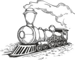 Retro Locomotive Free Vector Cdr