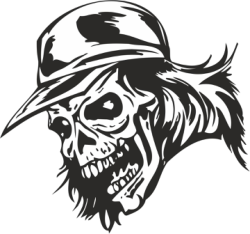 Zombie Skull with Cap Sticker Vector Free Vector Cdr