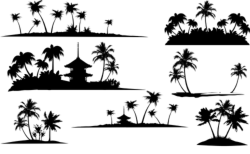 Tropical Islands Silhouette Vector Free Vector Cdr