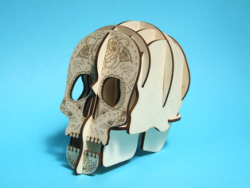 Laser Cut Skull 3d Pen Holder Free Vector Cdr