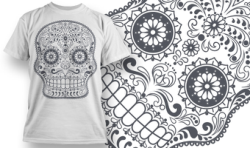 Sugar Skull T-Shirt Design Free Vector Cdr