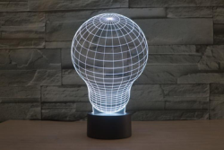Light Bulb 3D LED Illusion Night Light Lamp Free Vector Cdr