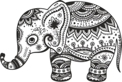 Retro Floral Elephant Free Vector Cdr