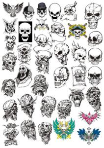 Skull tattoo Vector Free Vector Cdr