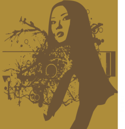 Beautiful Woman Portrait Abstract Pattern Free Vector Cdr