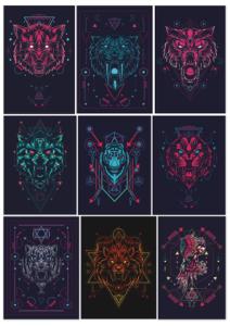 Animals Geometric Print Free Vector Cdr