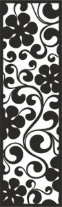 Curl with big Black Flowers Pattern Free Vector Cdr