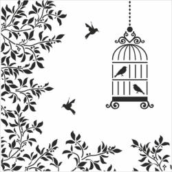 Silhouettes Birds Cage Flowers Illustration Free Vector Cdr