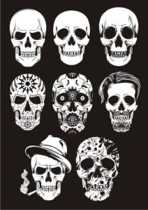 Day of the dead skull vectors Free Vector Cdr