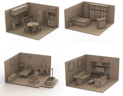 Furniture Set Doll House Mdf Laser Cut Free Vector Cdr