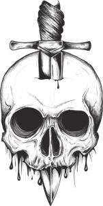 Sword Skull Print Free Vector Cdr