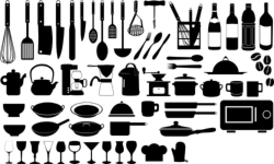 Kitchen Silhouette Vector Set Free Vector Cdr