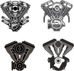 Motorcycle Engine vectors Free Vector Cdr