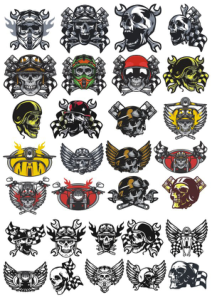 Skull In Motorcycle Helmet Vector Pack Free Vector Cdr