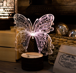 Butterfly 3D Lamp Free Vector Cdr