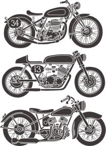 Vintage Motorcycle Vector Set Free Vector Cdr