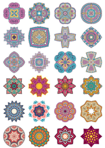 Mandala Flower Doodle Ornaments Set Free Vector Cdr