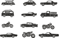 Retro Vehicle Vector Pack Free Vector Cdr