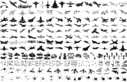 Military plane silhouette vector pack Free Vector Cdr