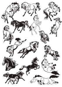 Horse Stickers Vector Art Collection Free Vector Cdr