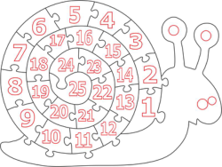 Wooden Number Snail Puzzle Free Vector Cdr