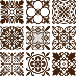 Retro floral ornaments vector set Free Vector Cdr