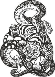 Snake And Tiger Fight Vector Art Free Vector Cdr