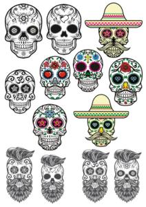 Sugar Skulls Tattoos Free Vector Cdr