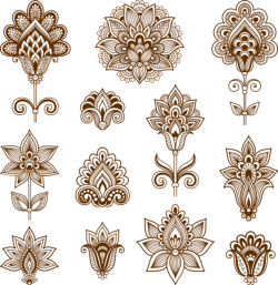 Abstract floral elements in Indian mehndi style Free Vector Cdr