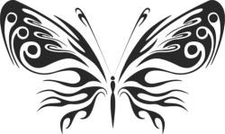 3d butterfly wall sticker black Free Vector Cdr